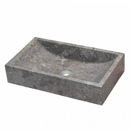 Lavabo rectangular, sobre encimera de mármol gris, Satun