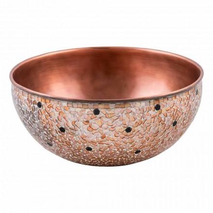 Lavabo sobre encimera redondo hecho a mano de cobre, Murello