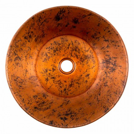 Lavabo sobre encimera redondo hecho a mano en cobre, Palosco