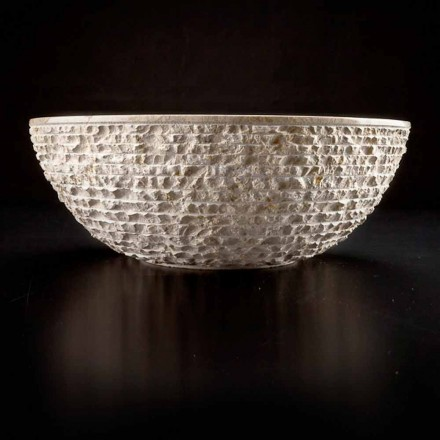 Lavabo sobre encimera redondo hecho a mano en mármol blanco - Lino