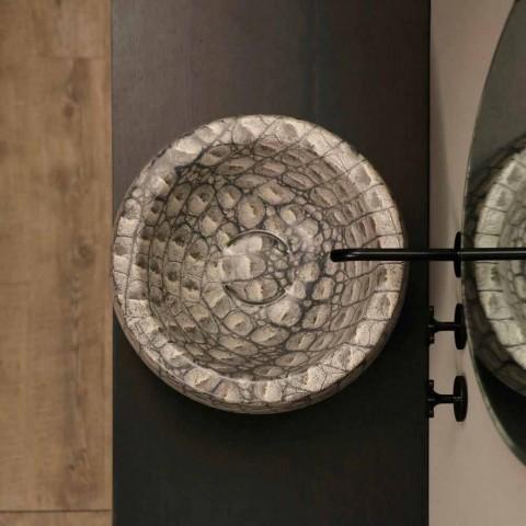 Caiman Lavabo sobre encimera redondo de cerámica realizado en Italia Diseño Elisa