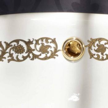 Fregadero empotrado para baño en arcilla fuego y oro hecho en Italia, Otis