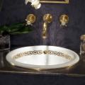 Fregadero para baño empotrado en arcilla fuego y oro de 24 kilates fabricado en Italia, Otis