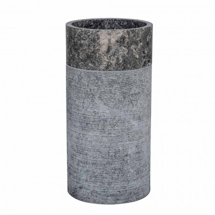Lavabo de baño independiente cilíndrico en mármol gris - Cremino