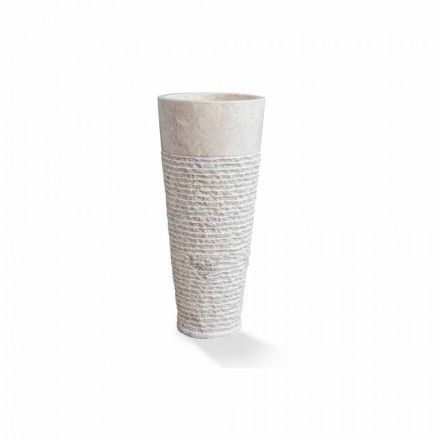 Lavabo columna moderno de pie en mármol blanco - Merlo