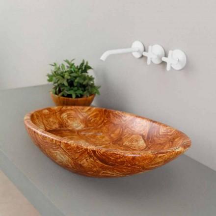 Lavabo sobre encimera de cerámica de diseño realizado en Italia Brillante