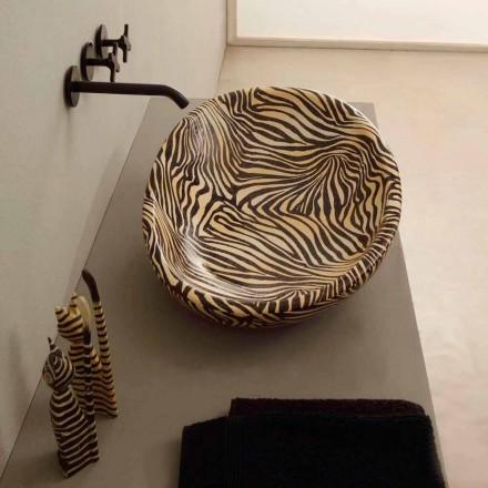 Lavabo sobre encimera de cerámica de diseño con cebra naranja realizado en Italia Brillante