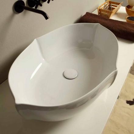 Lavabo sobre encimera de diseño de cerámica blanca realizado en Italia Oscar