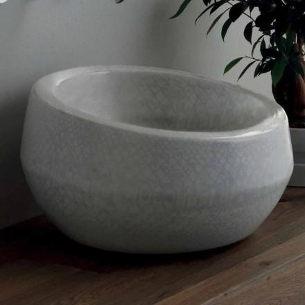 Lavabo sobre encimera de diseño en cerámica de pitón fabricado en Italia Elisa