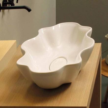Lavabo sobre encimera de diseño moderno en cerámica blanca fabricado en Italia Cubo