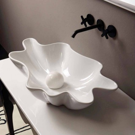 Lavabo de encimera de cerámica de diseño moderno fabricado en Italia Rayan