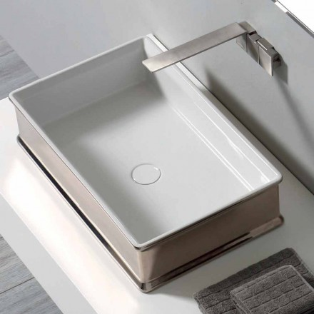 Lavabo sobre encimera de cerámica de diseño moderno hecho en Italia Debora