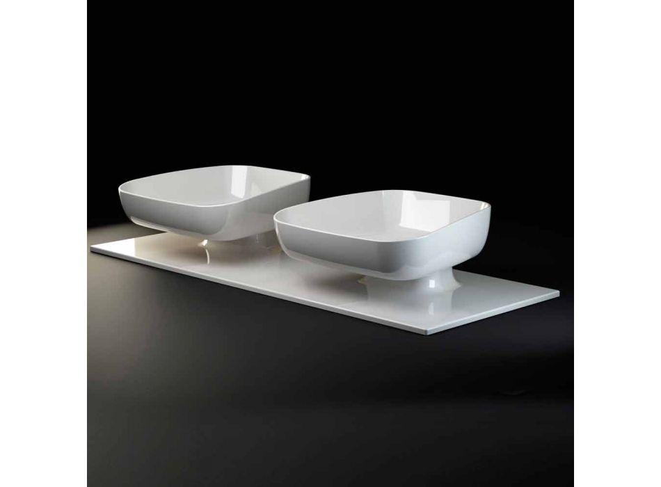 Lavabo doble de cerámica moderno de pared hecho en Italia, Reale