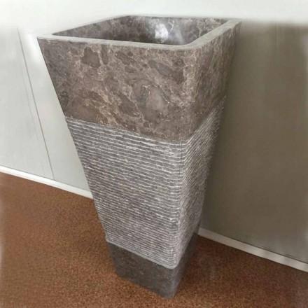 Lavabo de diseño gris en piedra natural Taffy, pieza única.