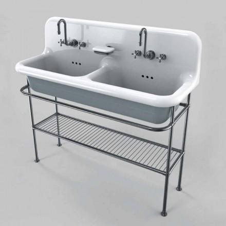 lavabo de cerámica con dos tazones en estructura de soporte Calvin