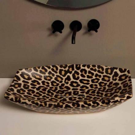 Lavabo sobre encimera de cerámica de guepardo hecho en Italia por Laura