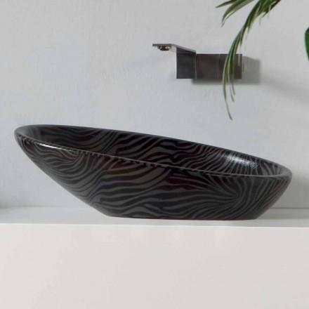 Lavabo moderno de encimera de cerámica con cerámica de color plateado hecho en Italia Glossy