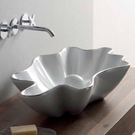 Lavabo sobre encimera moderno en cerámica blanca hecho en Italia Rayan