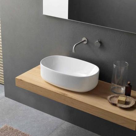 Lavabo sobre encimera ovalado moderno y de diseño en cerámica blanca - Ventori1
