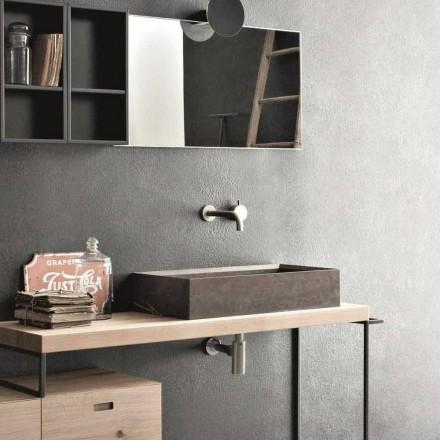 Lavabo sobre encimera rectangular y moderno en piedra de diseño - Farartlav3