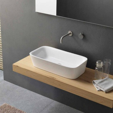 Lavabo sobre encimera rectangular moderno en diseño de cerámica - Lipperialav1