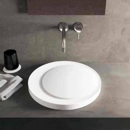 Lavabo sobre encimera redondo en Luxolid Solid Surface Crema
