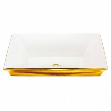 Fregadero semi-empotrado moderno en arcilla de fuego y oro de 24 quilates, Guido