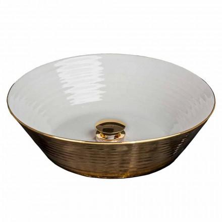 Fregadero circular de porcelana y oro de 24 quilates, Felice