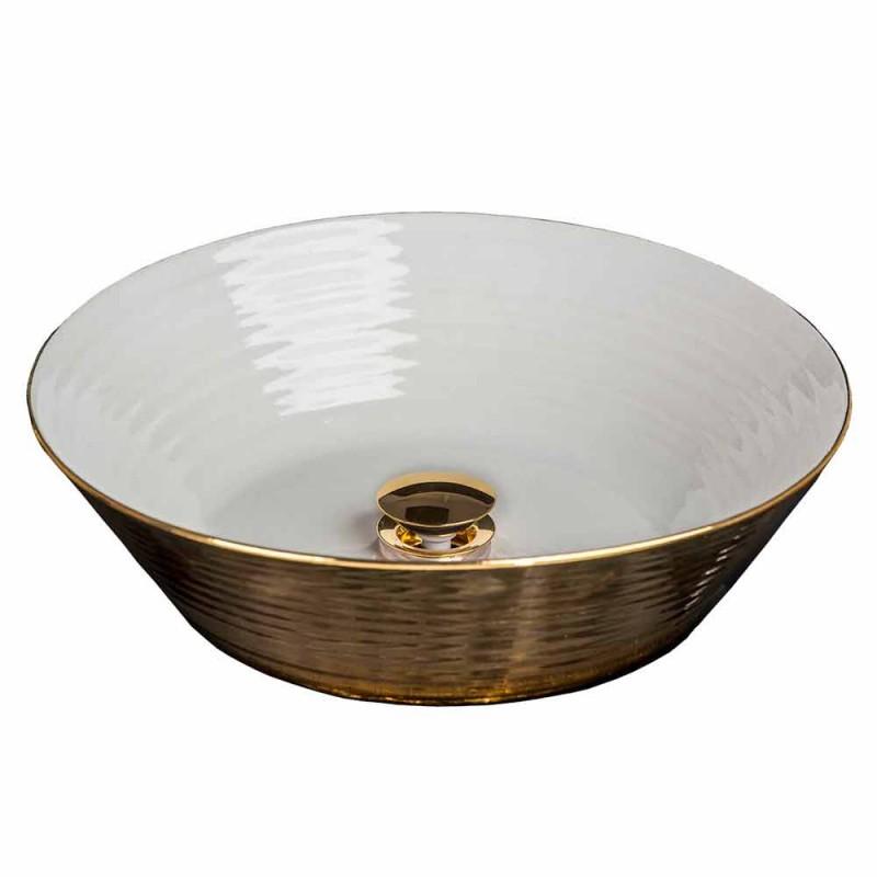 Lavabo superior redondo en porcelana y oro hecho en Italia, Felice