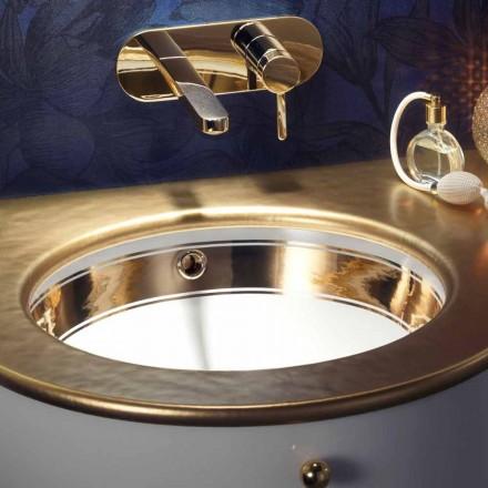 Fregadero bajo barroco en arcilla fuego / oro de 24 quilates hecho en Italia, Egeo