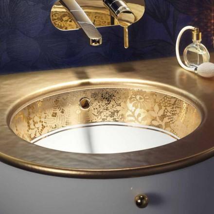 Fregadero bajo encimera en arcilla de fuego y oro de 24 quilates hecho a mano en Italia, Egeo