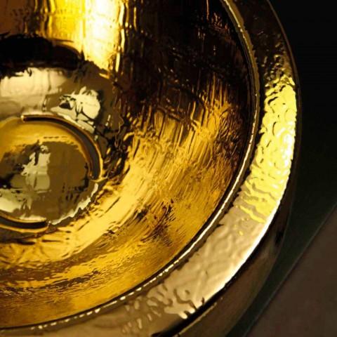 Lavabo redondo de diseño en encimera de cerámica Elisa italiana dorada