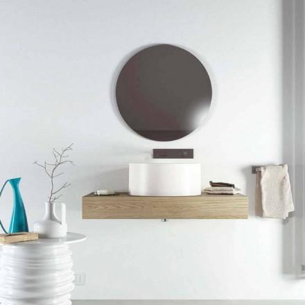 Lavabo sobre encimera de diseño circular producido en Italia, Forino