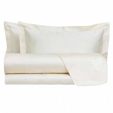 Sábanas de color liso completas en satén de algodón para cama doble - Hibiscus