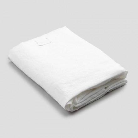 Sábana bajera para cama doble de lino blanco, diseño de lujo Made in Italy - Fiumano