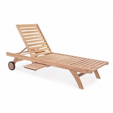 Tumbona de jardín reclinable moderna de teca con ruedas - Canarias