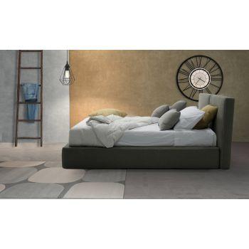 Cama tapizada doble con caja en tela de piel sintética Made in Italy - Desert