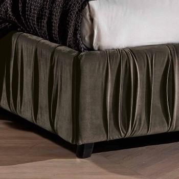 Cama doble tapizada moderna con pliegues o diseño acolchado - Thomas