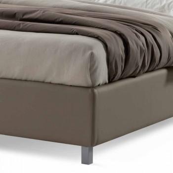 Cama doble con caja de diseño moderno en piel sintética Made in Italy - Carmelo