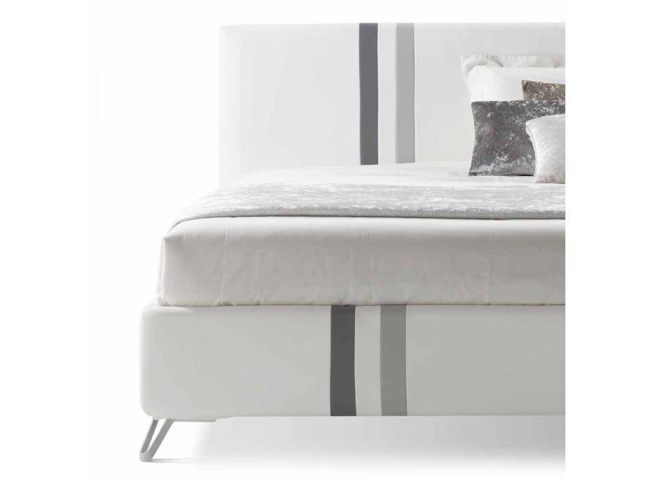 Cama doble con cajón acolchado en cuero ecológico Made in Italy - Paolo