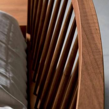 Cama doble de diseño 160x200cm con base sólida de nogal Alain