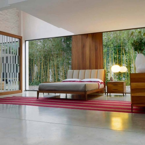 Cama de diseño doble con cabecero tapizado en cuero Menardo