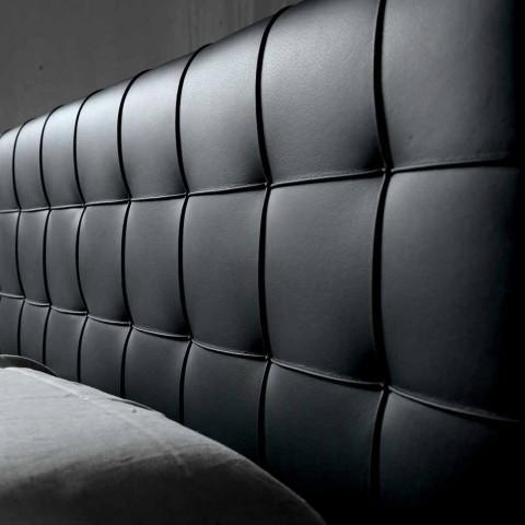 Cama doble de diseño con cabecero acolchado Leilo, 160x200 cm