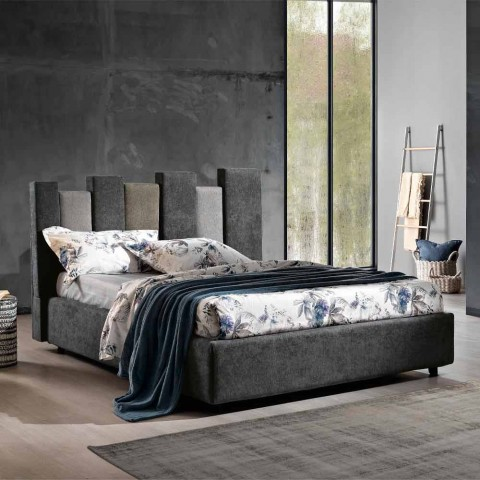 Cama doble de diseño moderno tapizada en azul o gris de alta calidad - Kenzo