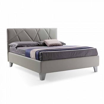 Cama doble de diseño moderno tapizada con caja Made in Italy - Guijarro