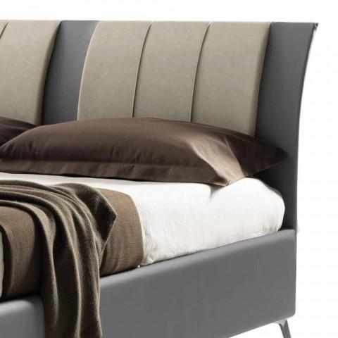 Cama tapizada doble con caja en cuero ecológico bicolor Made in Italy - Gagia