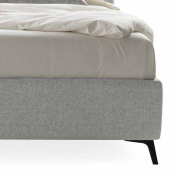 Cama tapizada doble con contenedor de tela Made in Italy - Guijarro