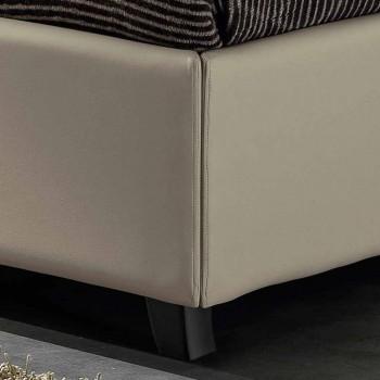 cama doble en la imitación de cuero con la caja de alcanzar un máximo de 160x190 / 200 cm Mia