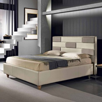 cama doble en piel sintética con caja de almacenamiento 160x190 / 200 cm Gin