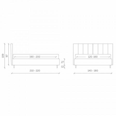 Cama doble de tela con caja y cabecera de rayas Made in Italy - Nives
